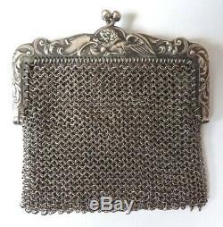 Bourse aumonière cote de maille argent massif Griffon chimère silver bag