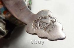 Bracelet ARGENT massif et émail serpent sterling enamel silver snake 63 gr