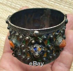 Bracelet Argent Ancien Corail Email Maroc Berbere Antique Moroccan Silver Bangle
