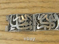 Bracelet Filigrané Caligraphie Arabe en Argent Massif Silver Silber ancien
