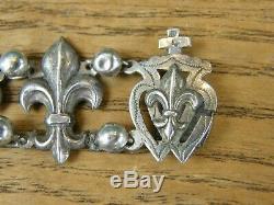 Bracelet Fleurs de Lys en Argent Massif Silver Silber ancien