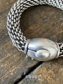 Bracelet Gourmette Argent Massif Silver Maille Articulé Serpent tank Mexique 81g