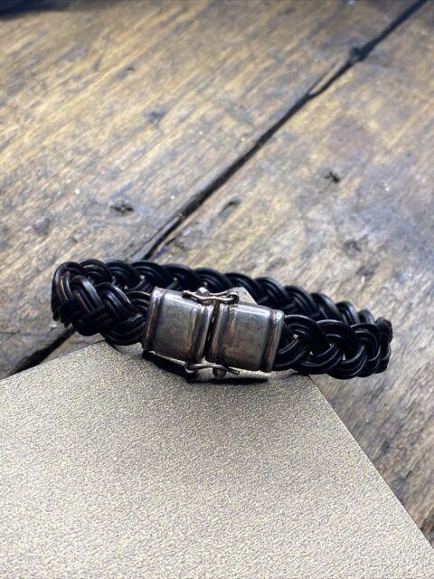 Bracelet Gourmette En Argent Massif Silver Maille Tresser Poils Déléphant