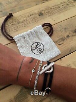 Bracelet HERMES SKIPPER in silver NEW Black/ Noir