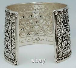 Bracelet Jonc Manchette Argent Massif 925 Ciselure Superbe Etat Strap Silver