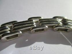 Bracelet Tank ancien Argent massif 925 37g Sterling silver