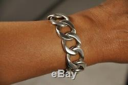 Bracelet Vintage Argent Massif Grosses Mailles Solid Silver Bracelet 107gr
