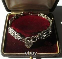 Bracelet amour vintage Londres 1979 cadenas cur argent massif 15,5g silver