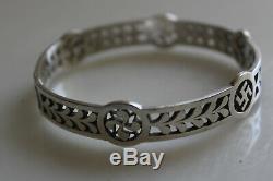 Bracelet ancien argent massif Basque Swastika / Sterling silver bracelet