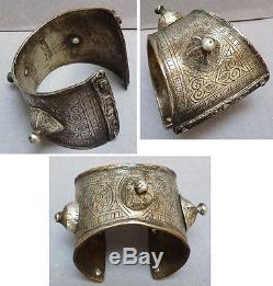 Bracelet ancien argent massif ethnique Maghreb anti-atlas Maroc silver bracelet