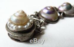 Bracelet ancien en argent massif + escargot irisé nacre Bijou bracelet silver