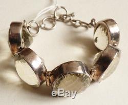 Bracelet ancien en argent massif serti clos de citrine silver