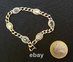 Bracelet ancien vintage en argent massif vermeil et pierres / sterling silver