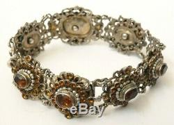 Bracelet argent massif + Citrine + perles Autriche Hongrie 19e siècle silver