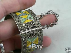 Bracelet argent massif ethnique berbère emaillé XIXe ethnic 19th enamel silver
