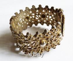 Bracelet argent massif ethnique fermoir à goupille à vis silver 63 gr