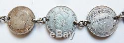 Bracelet chaine avec pièces argent massif 19e siècle Napoléon silver bracelet