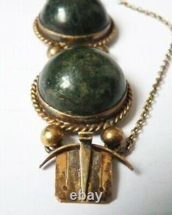 Bracelet du 19e siècle argent massif + jaspe fermoir or Bijou ancien silver