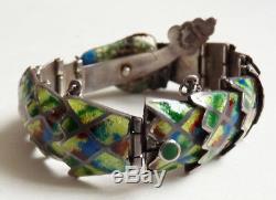 Bracelet en ARGENT massif et émail sterling silver serpent snake 63 gr