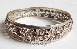 Bracelet en argent massif Vers 1900 fleurs silver antic 31 gr