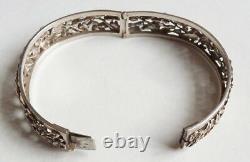 Bracelet en argent massif Vers 1900 fleurs silver antic bracelet 31 gr