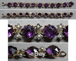 Bracelet en argent massif fleur de lys + pierres violette 19e siècle silver