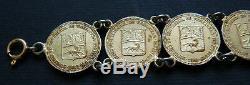Bracelet en argent massif pièces de monnaie Venezuela 1960 silver