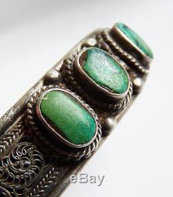 Bracelet ethnique en argent massif et turquoise silver Bijou ancien