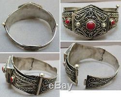Bracelet ethnique en argent massif silver Maghreb Afrique du Nord colonial
