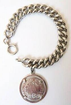 Bracelet gourmette Argent massif silver piece médaille Napoléon 1811 46,4 g