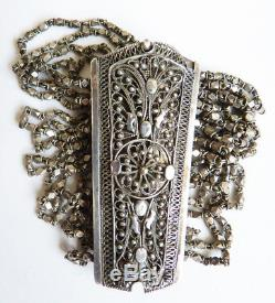 Bracelet multi-rangs en argent massif silver bijou ancien