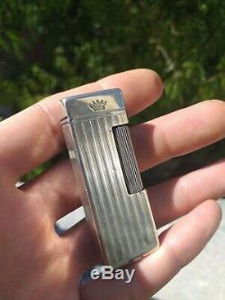 Briquet Argent Massif Ancien Dunhill A Essence Vintage Sterling Silver