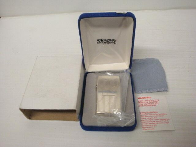 Briquet Zippo Slim Argent Massif Sterling Silver 1994 Neuf New Ref 063