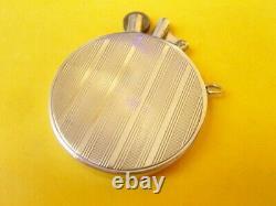 Briquet à essence en argent massif solid silver round petrol lighter Feuerzeug