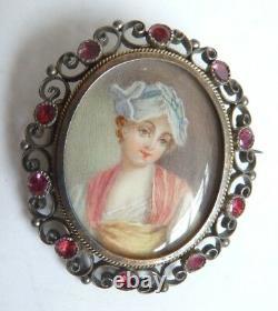 Broche 19e ARGENT grenat peinture miniature Greuze écrin garnet silver painting
