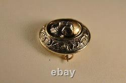 Broche Ancien Or Argent Massif Antique Solid Silver Gold Brooch