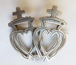 Broche Guimbarde en argent massif 18e siècle bijou régional homme coeur silver