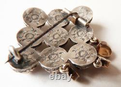 Broche Médaillon argent + grenat 19e bijou ancien silver garnet victorian brooch
