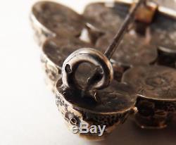 Broche Médaillon argent + grenat 19e sièc bijou ancien silver victorian brooch