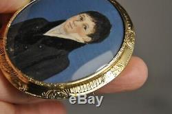 Broche Portrait Miniature Ancien Vermeil Antique Gilt Solid Silver Brooch