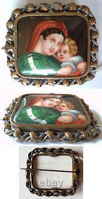 Broche ancien peinture miniature porcelaine argent massif Vierge silver painting