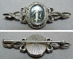 Broche argent avec peinture miniature 18e siècle silver brooch painting