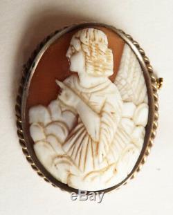 Broche argent massif + camée sur coquille femme ange cameo silver pendant