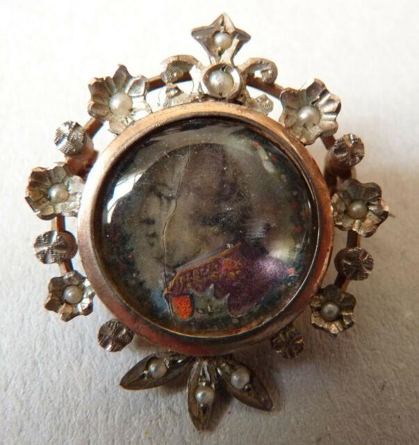 Broche Argent Peinture Miniature Portrait Du Roi Louis Xviii Silver Painting