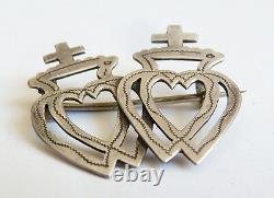 Broche coeur vendéen mariage argent massif 19e s régional silver heart brooch