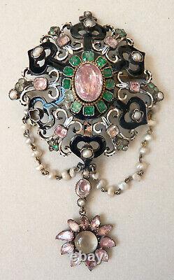 Broche corsage argent émeraude bijou 19e Charles X silver reliquary reliquaire