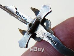 Broche en argent massif signée MELLERIO Mont Saint Michel ancien silver brooch