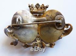 Broche mariage argent massif avec couronne armoiries 19e silver brooch crown