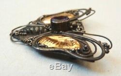 Broche papillon argent massif et plaques en OR + améthyste bijou ancien silver