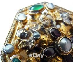 Broche pendentif vermeil + nacre + pierres silver brooch angelot angel 19e ange